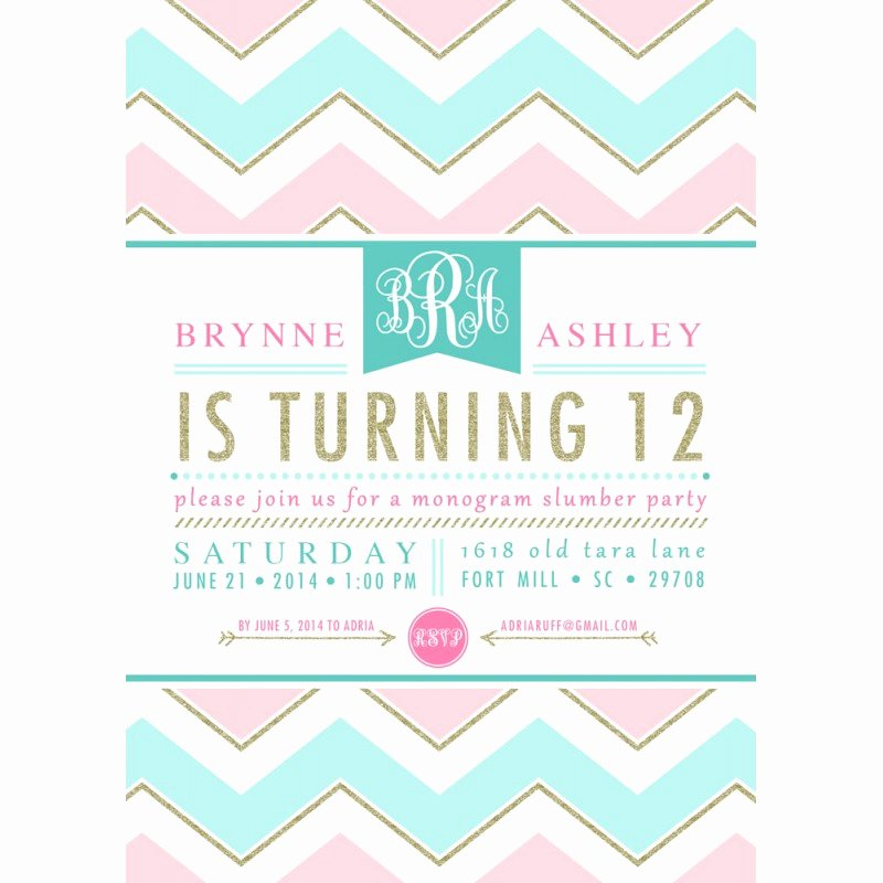 Birthday Invitations for Teenage Girl Awesome Monogram Slumber Birthday Party Chevron Gold Glitter