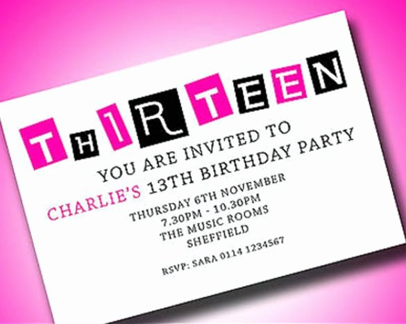Birthday Invitations for Teenage Girl Awesome Personalized Boys & Girls Teenager 13th Birthday Party