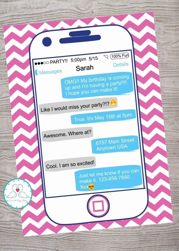 Birthday Invitations for Teenage Girl Awesome Smart Phone Cell Phone Emoji Emoticon Texting Teen Tween