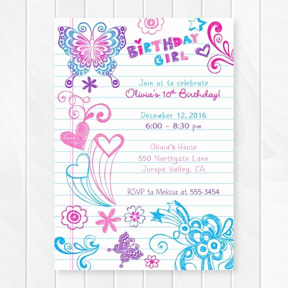 Birthday Invitations for Teenage Girl Beautiful Notebook Doodles Tween Birthday Invitation Girl Birthday