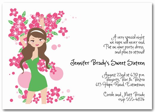 Birthday Invitations for Teenage Girl Elegant Brunette Girl 16th Birthday Invitation