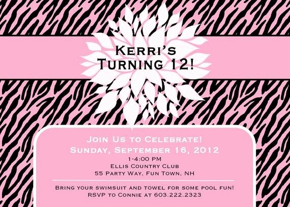 Birthday Invitations for Teenage Girl Elegant Items Similar to Birthday Party Invitation Zebra Print