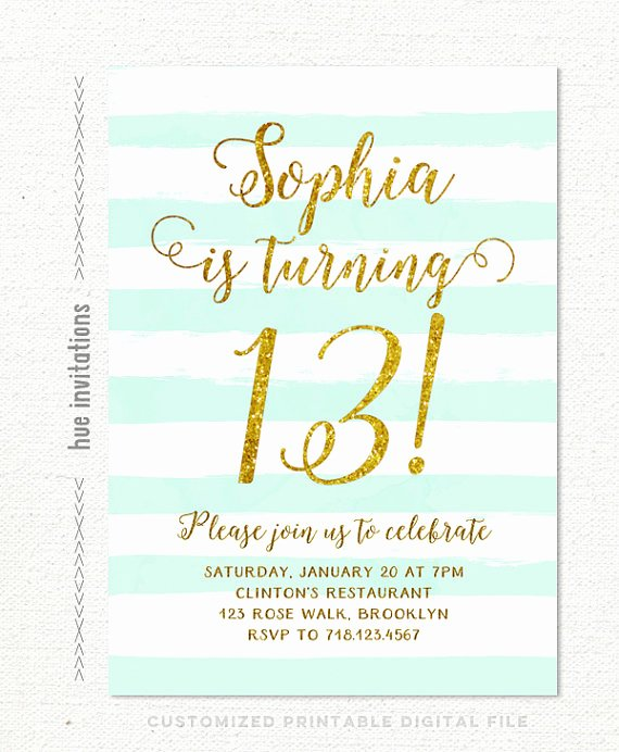 Birthday Invitations for Teenage Girl Fresh 13th Birthday Invitations Girl Mint Stripes Gold Glitter