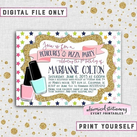 "Birthday Invitations for Teenage Girl Fresh Spa Birthday Party ""pedicures & Pizza"" Invitation"