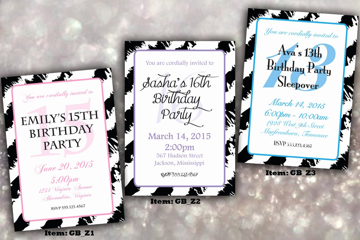 Birthday Invitations for Teenage Girl Fresh Teenage Girl Zebra Birthday Invitation Digital