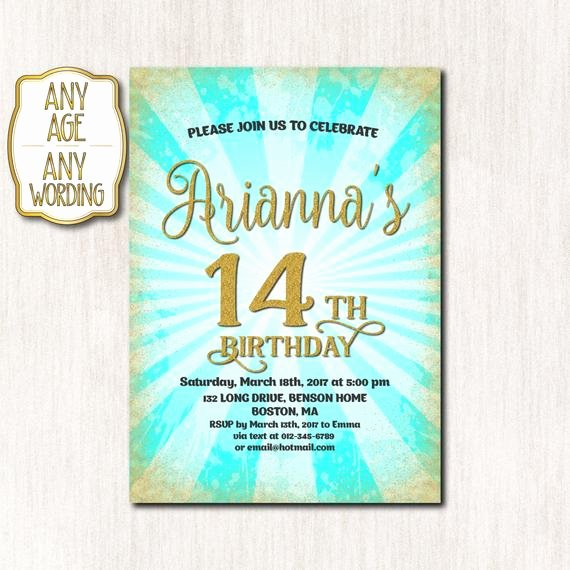 Birthday Invitations for Teenage Girl Inspirational 14th Birthday Invitation Fourteenth Birthday Gold Glitter