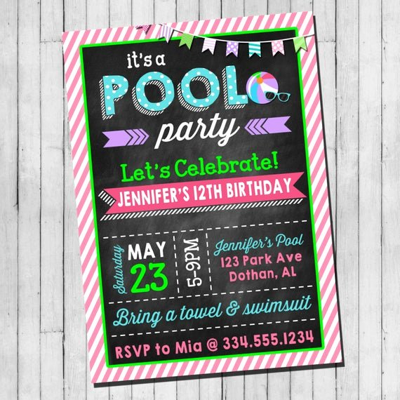 Birthday Invitations for Teenage Girl Lovely Pool Party Birthday Invitation Girl Teen Pool Party Beach