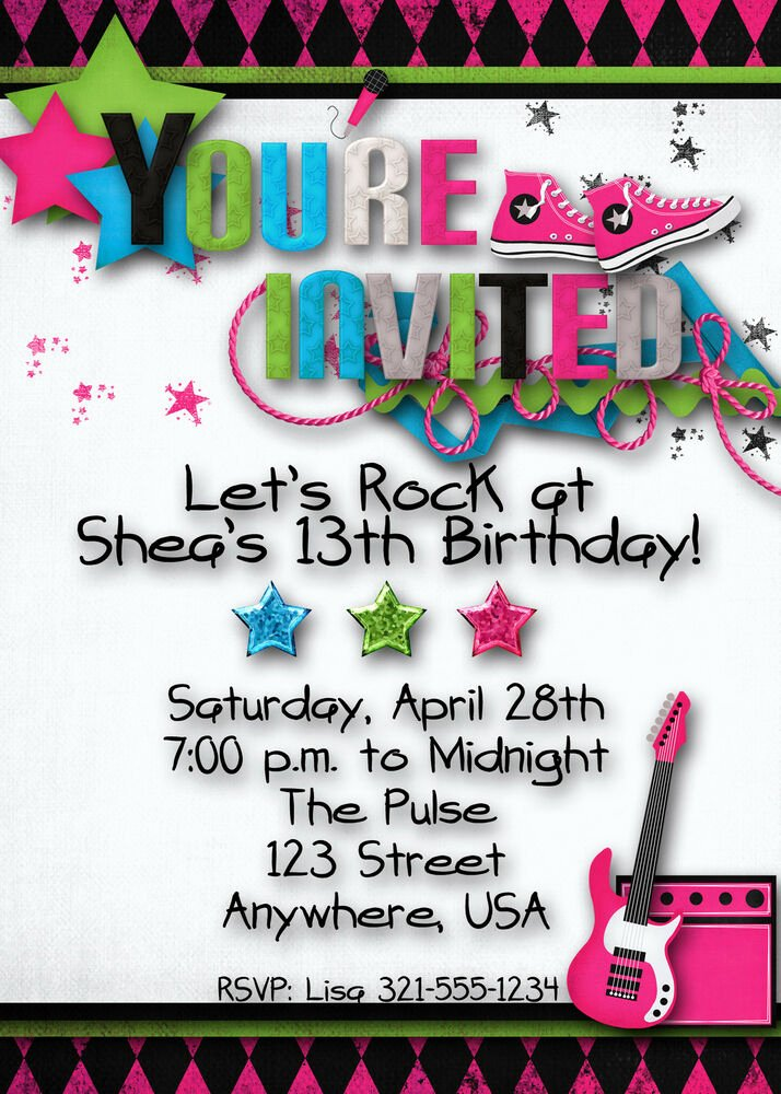 Birthday Invitations for Teenage Girl Luxury Rock Star Birthday Party Invitation Girl Teen Hip Hop