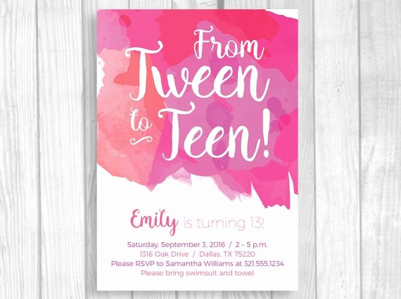 Birthday Invitations for Teenage Girl New Custom Printable 5x7 Tween to Teen Girl S 13th Thirteen