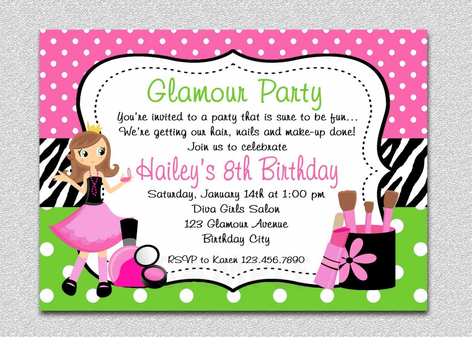 Birthday Invitations for Women Awesome Glamour Girl Birthday Spa Invitation Glamour Girl Birthday