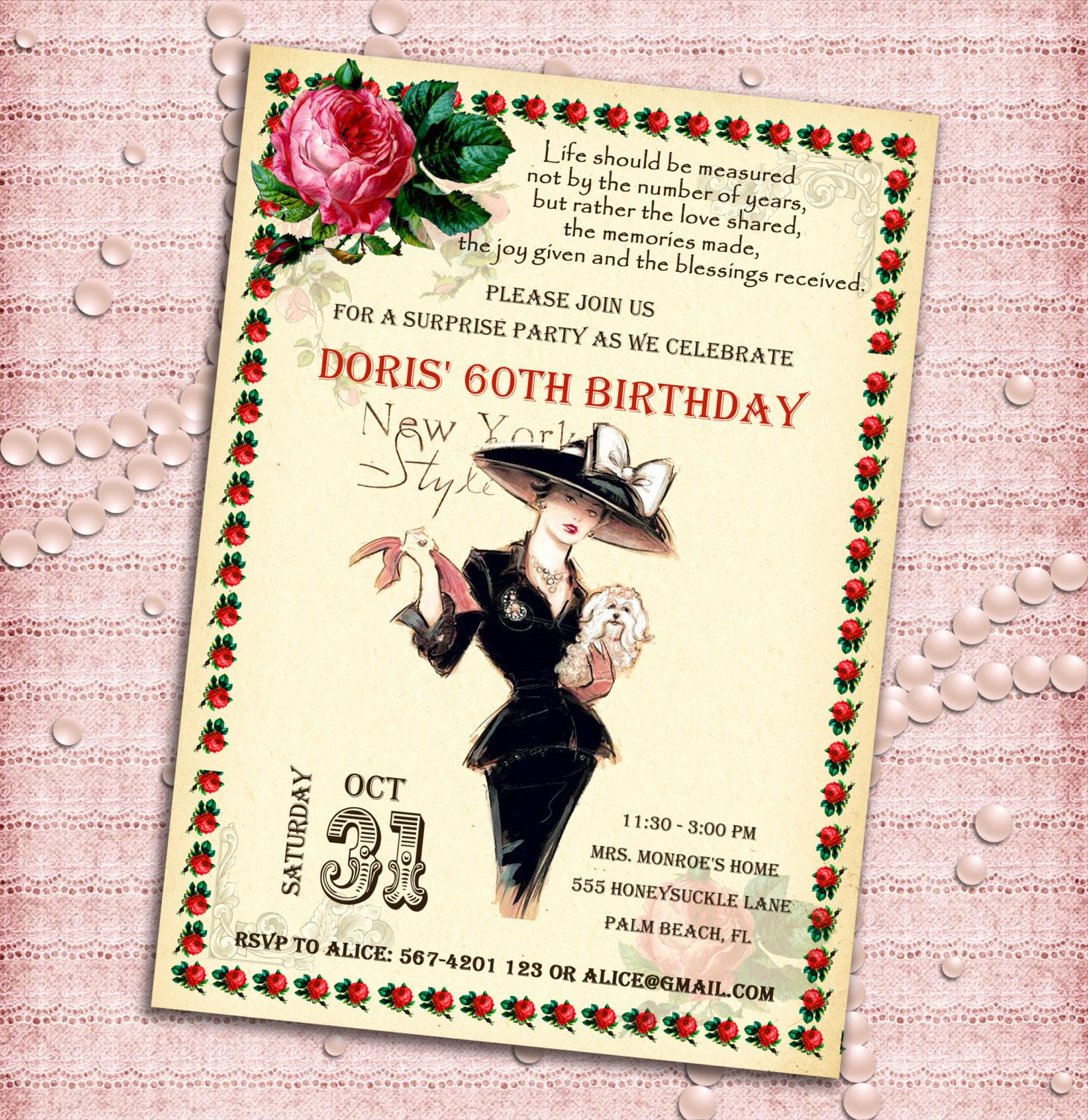 Birthday Invitations for Women Awesome Vintage Style Women S Birthday Party Invitation 30th 40th