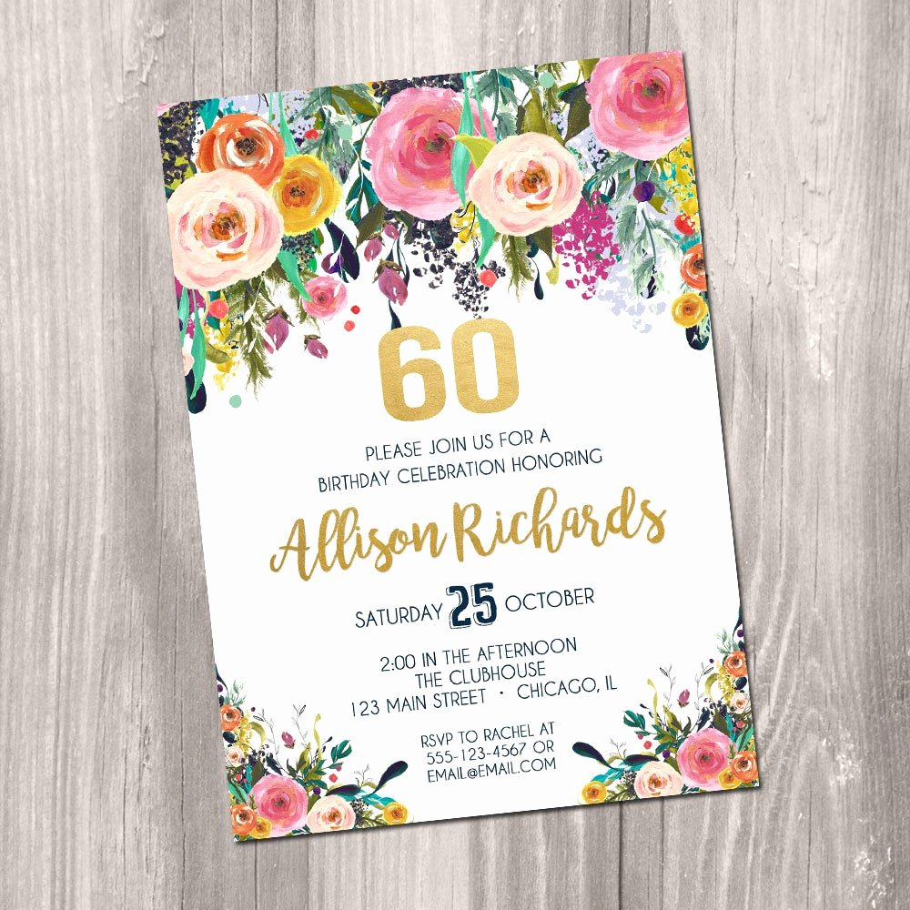 Birthday Invitations for Women Beautiful 60th Birthday Invitation Female Woman Adult Surprise