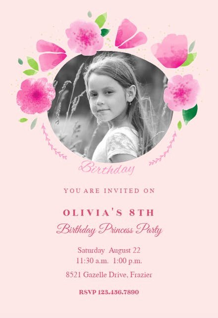 Birthday Invitations for Women Beautiful Girls Birthday Invitation Templates Free