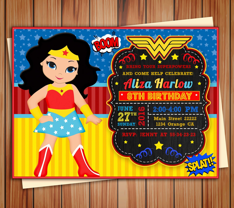 Birthday Invitations for Women Beautiful Wonder Girl Super Girl Invitation Wonder Girl Digital