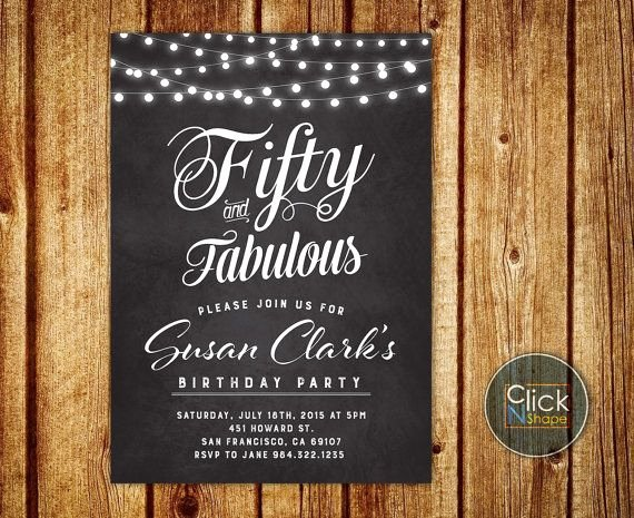 Birthday Invitations for Women Best Of 50th Birthday Invitation String Lights Invitation Chalkboard Invitation for Women