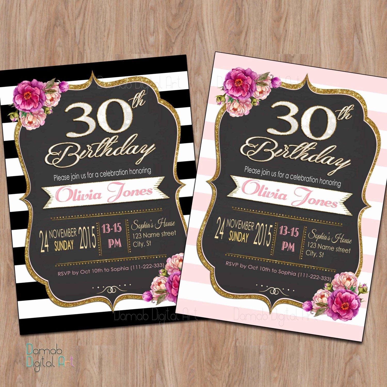Birthday Invitations for Women Fresh 30th Birthday Invitation 30th Birthday Invitation for Women