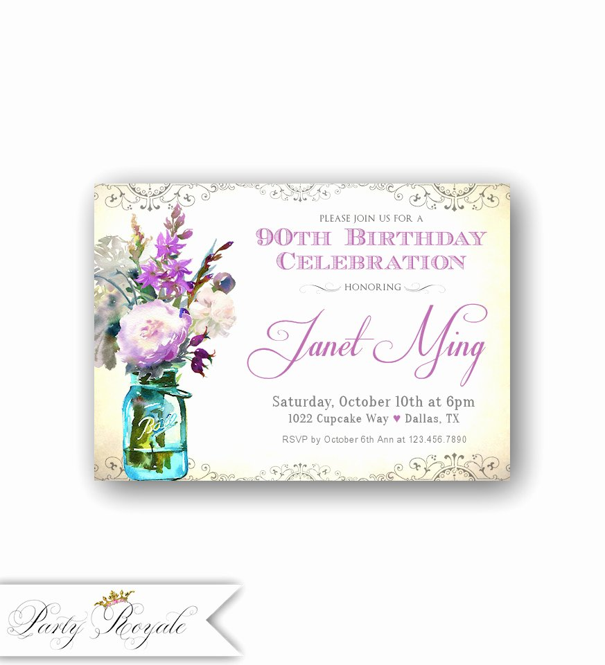 Birthday Invitations for Women Fresh Adult Birthday Invitations for Her 90th Birthday for A Woman