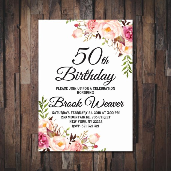 Birthday Invitations for Women Inspirational 50th Birthday Invitation for Women 50th Birthday Invitation