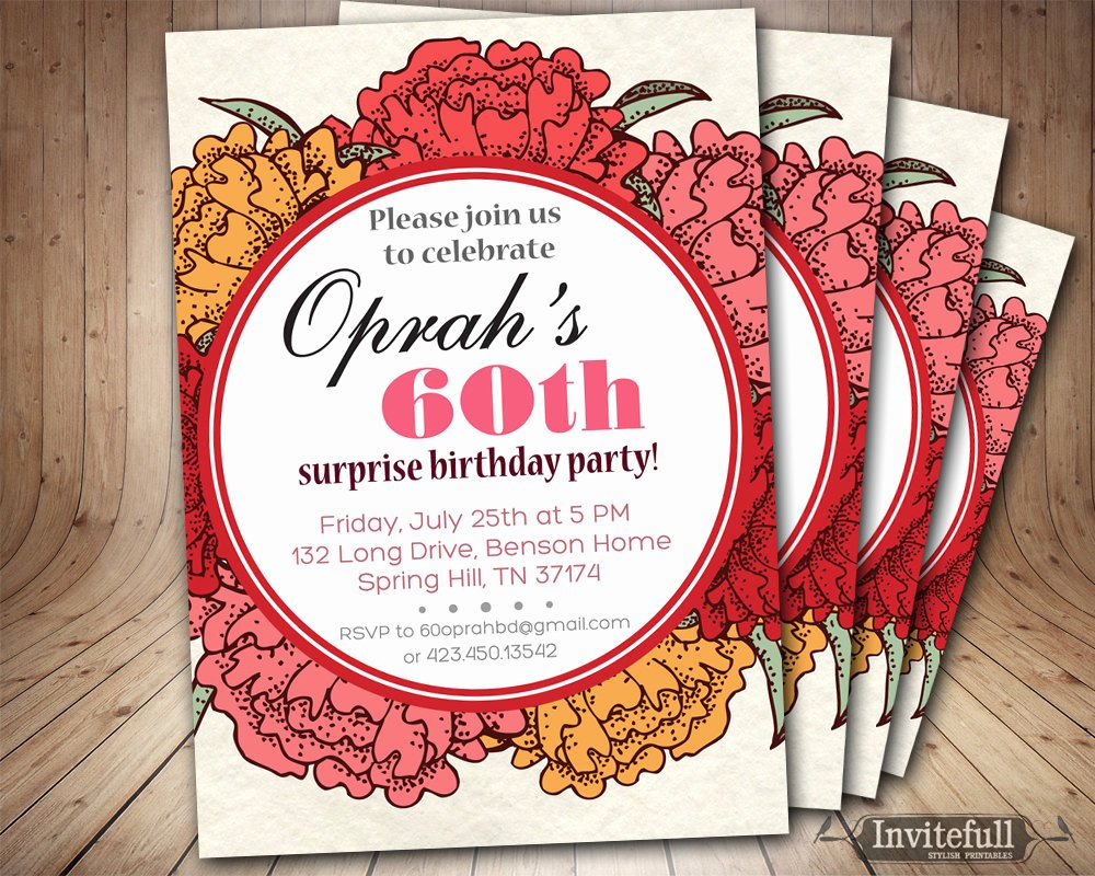 Birthday Invitations for Women Inspirational 60th Birthday Invitation for Women Adult Birthday