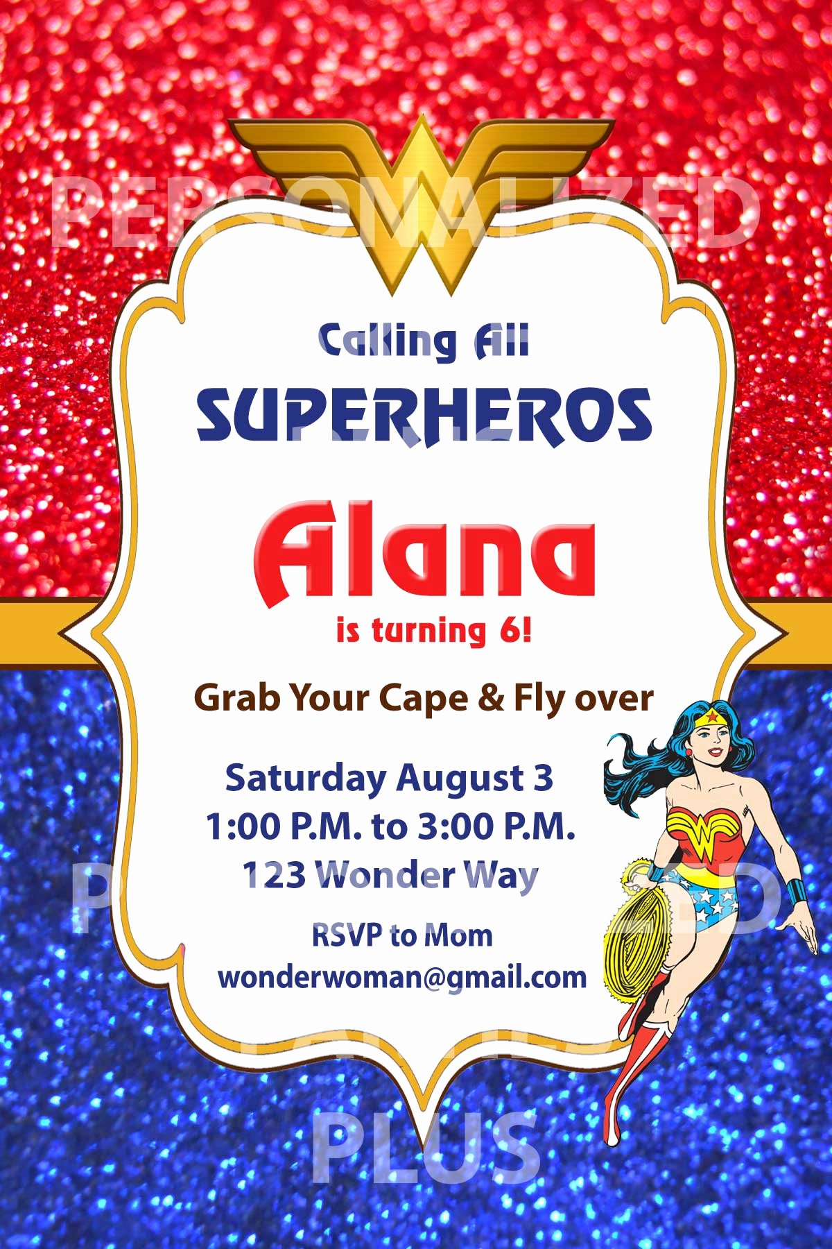 Birthday Invitations for Women Inspirational Wonder Woman Birthday Invitations