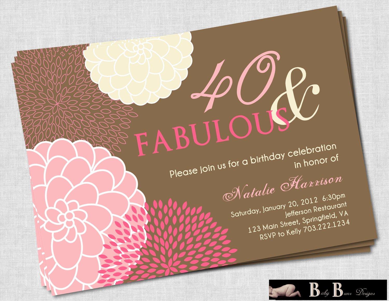 Birthday Invitations for Women Luxury 40th Birthday Invitations for Women Free Invitation Templates Drevio