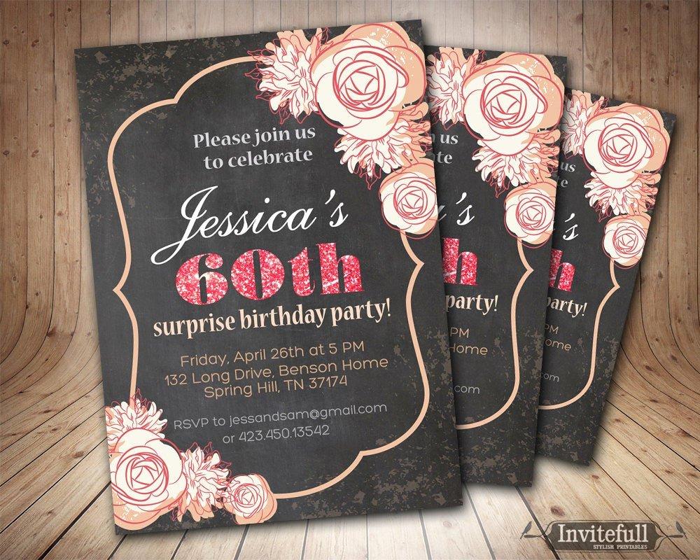 Birthday Invitations for Women Luxury Chalkboard 60th 50th 40th Birthday Invitation for Women Adult