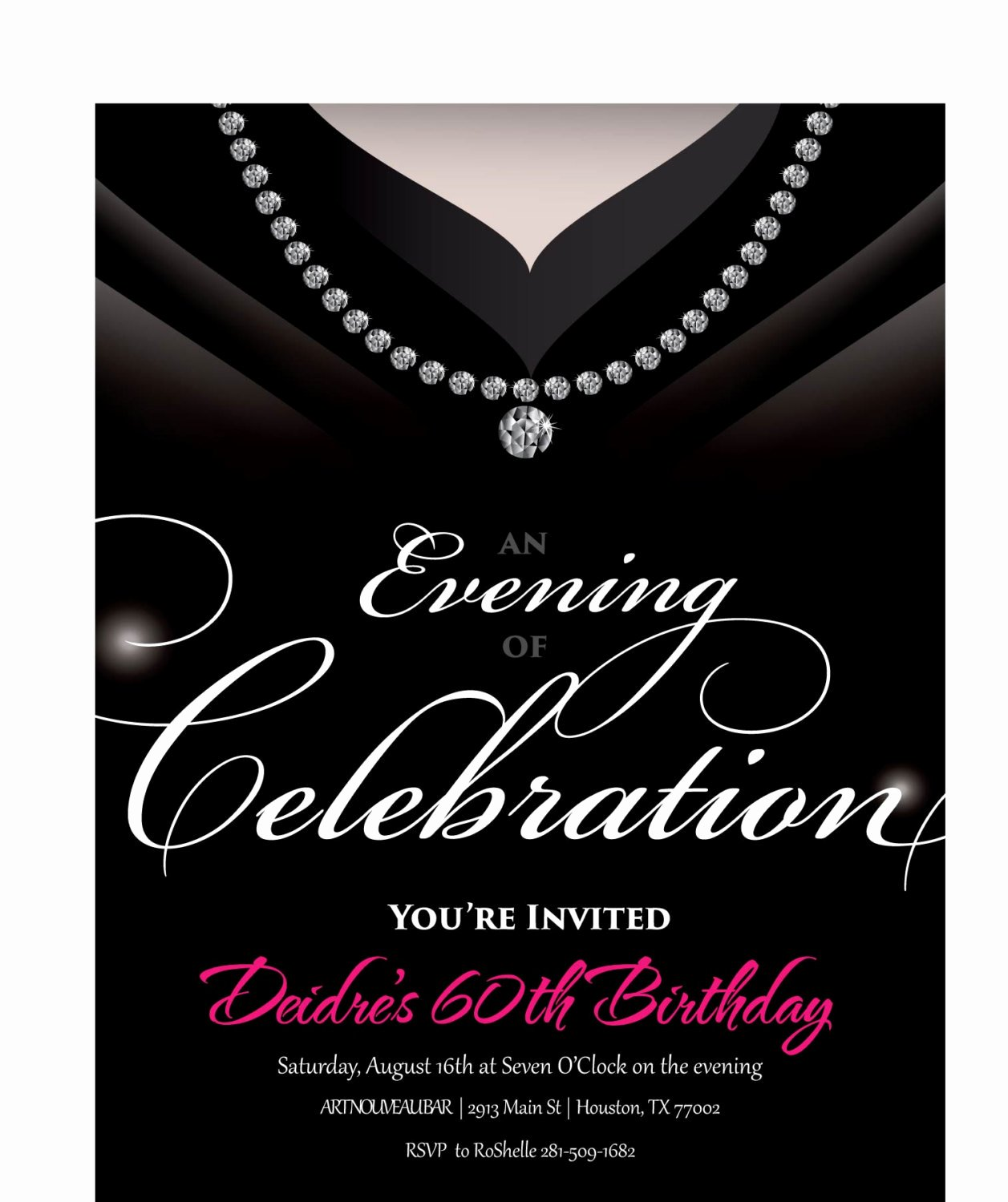Birthday Invitations for Women Luxury Gown Invitation • Birthday Party Invite for Women • Unique and Classy Adult Birthday Invitations