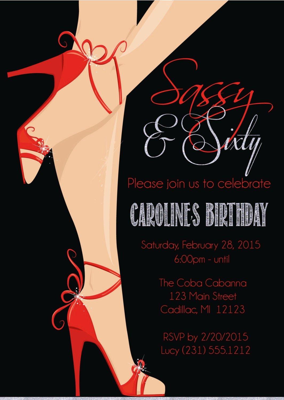 Birthday Invitations for Women Luxury Red Shoe 60th Birthday Invitation Women S Sassy & Sixty