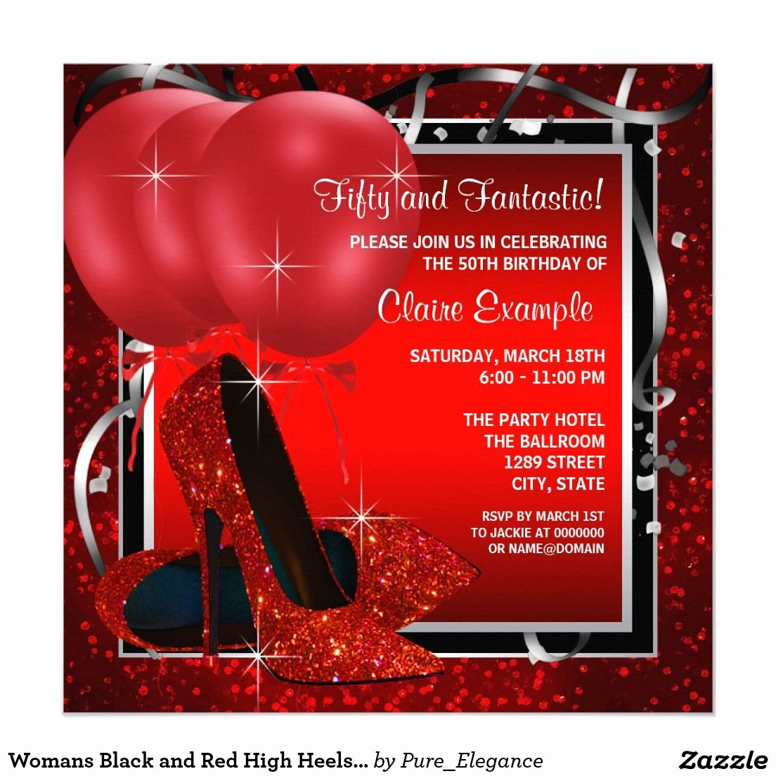 Birthday Invitations for Women Luxury Womans Black and Red High Heels Birthday Party Invitation Zazzle Party Ideas