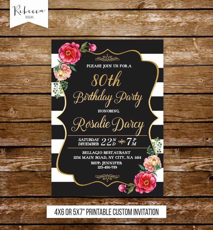 Birthday Invitations for Women Unique 80th Birthday Invitation Woman Elegant Birthday Invite 21st