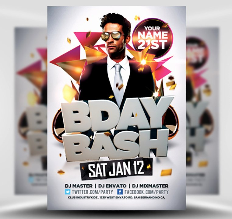 Birthday Party Flyer Templates Free Beautiful Bday Bash Flyer Template Flyerheroes