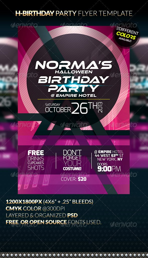 Birthday Party Flyer Templates Free Fresh H Birthday Party Flyer Template by Anekdamian