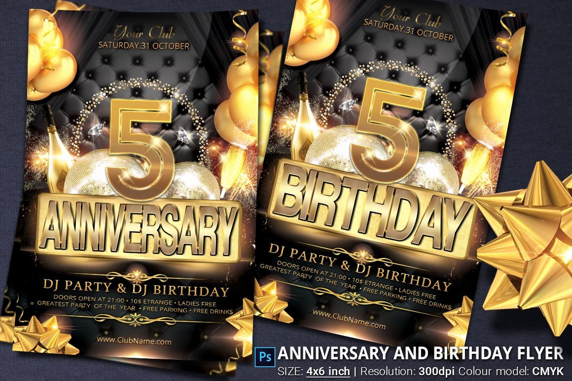 Birthday Party Flyer Templates Free Inspirational Anniversary and Birthday Party Flyer Flyer Templates Creative Market