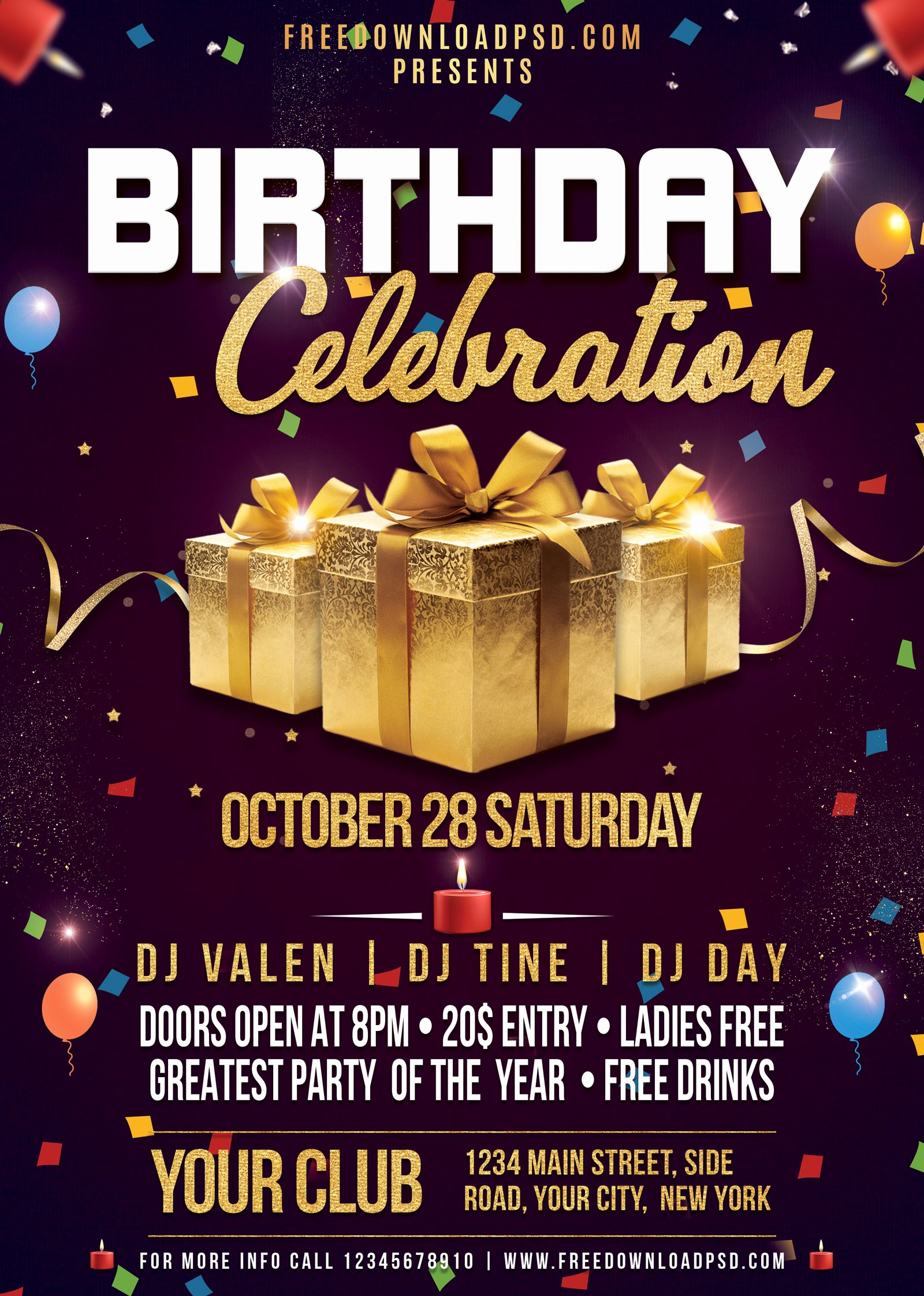 Birthday Party Flyer Templates Free Lovely Birthday Flyer Psd Template