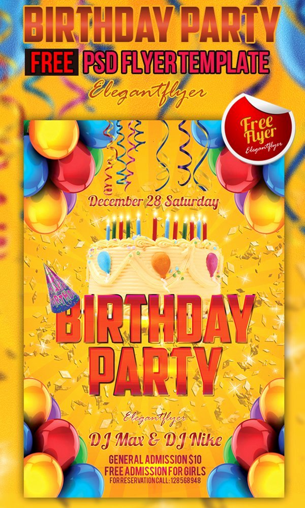 Birthday Party Flyer Templates Free New 90 Awesome Free Psd Flyer Templates
