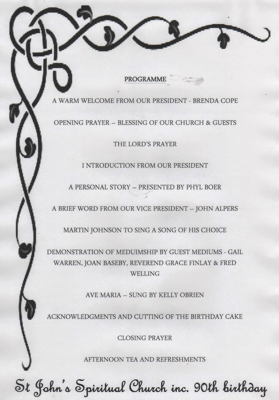 Birthday Party Program Outline Beautiful St John S Spiritual Church Inc 90th Birthday Activities & Program