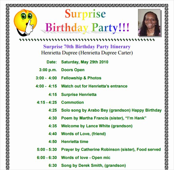Birthday Party Program Outline Fresh 11 Birthday Itinerary Templates – Free Sample Example format Download