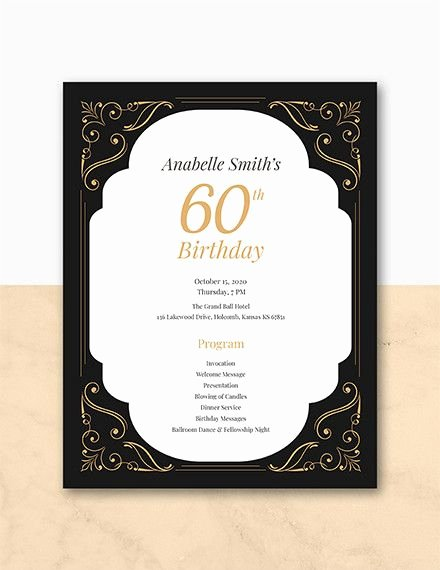 Birthday Party Program Outline Fresh 60th Birthday Program Template Birthday Party Planning In 2019