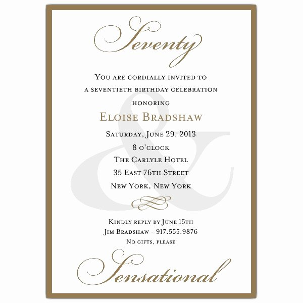 Birthday Party Program Outline Luxury Classic 70th Birthday Milestone Invitations