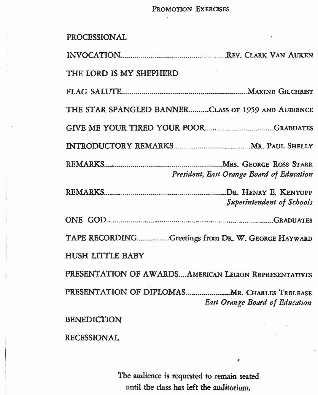 Birthday Party Program Outline New Stockton School 1959 8th Grade Promotion Exercises