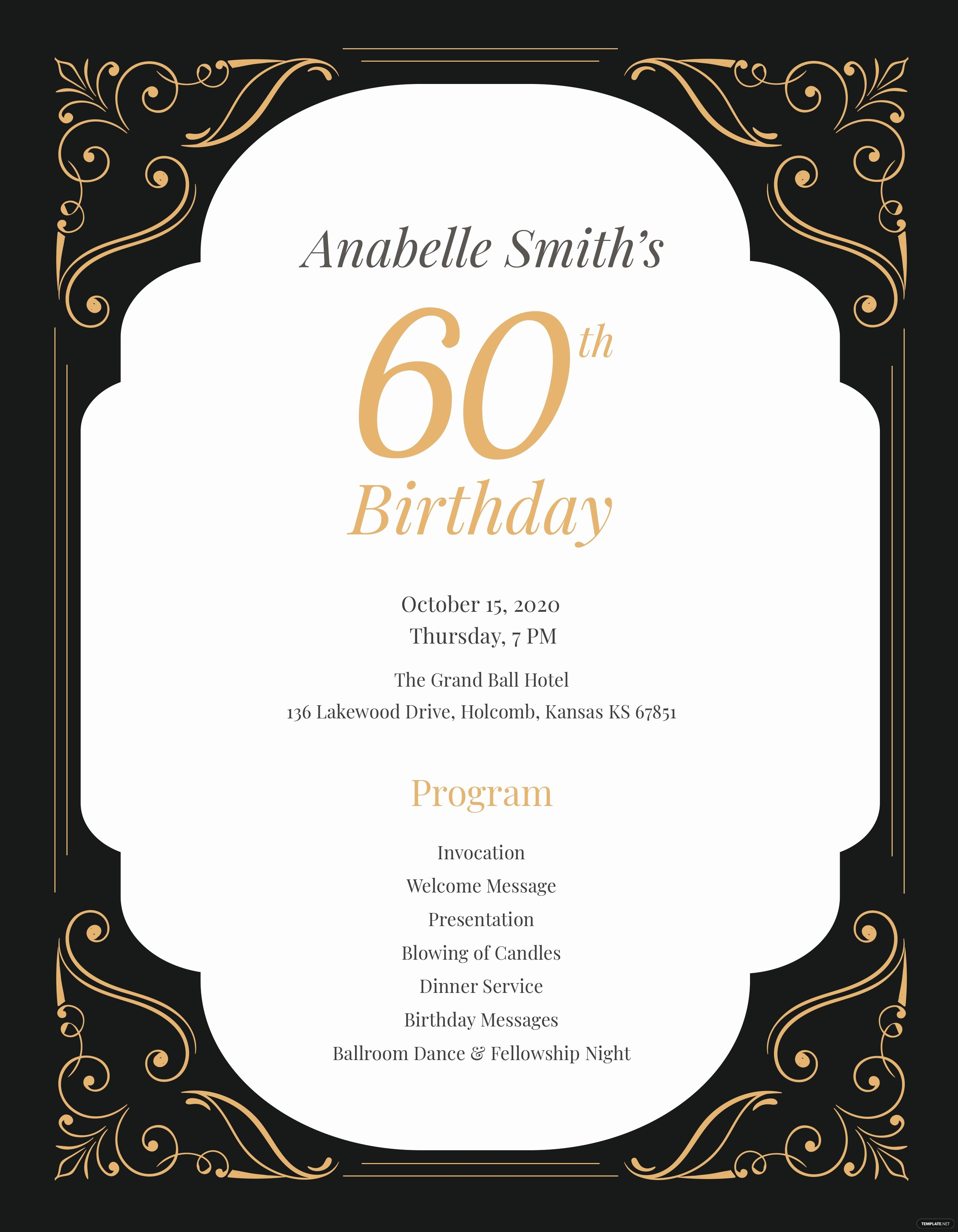 Birthday Party Program Template Luxury 60th Birthday Program Template In Adobe Shop Illustrator