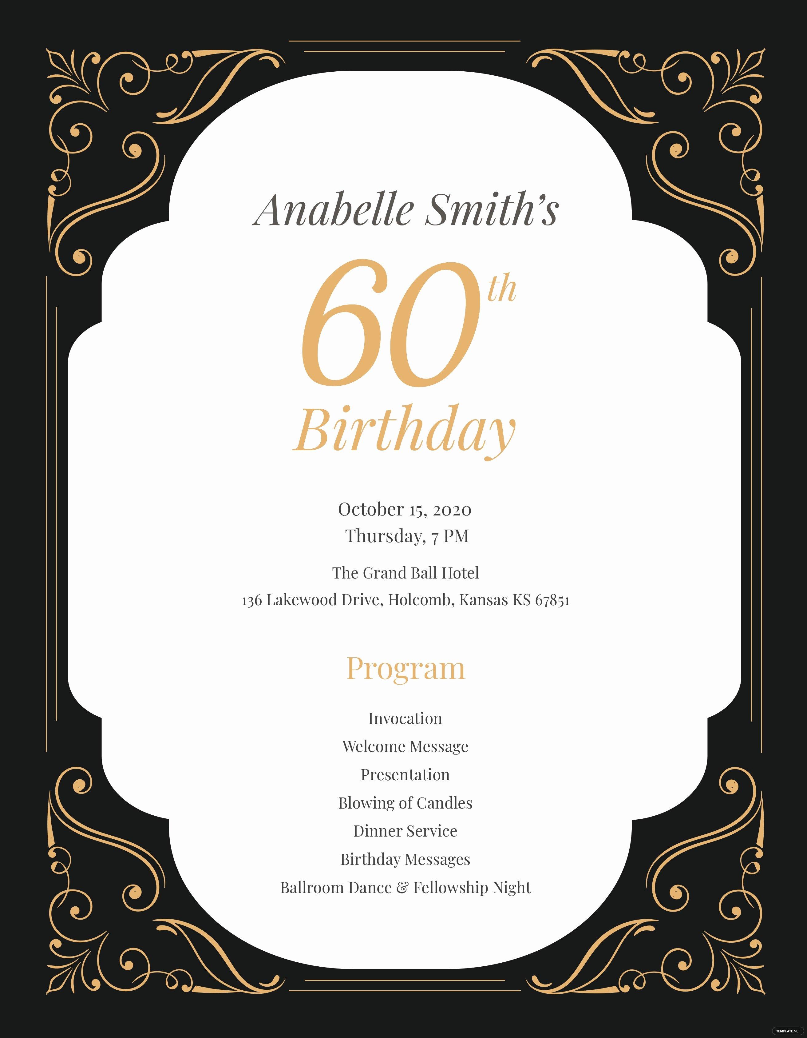 Birthday Party Program Template Luxury 60th Birthday Program Template In Adobe Shop Illustrator