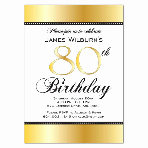 Birthday Party Program Template Luxury Golden Celebration 80th Birthday Invitations