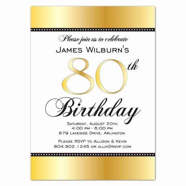 Birthday Party Program Template Luxury Golden Celebration 80th Birthday Invitations