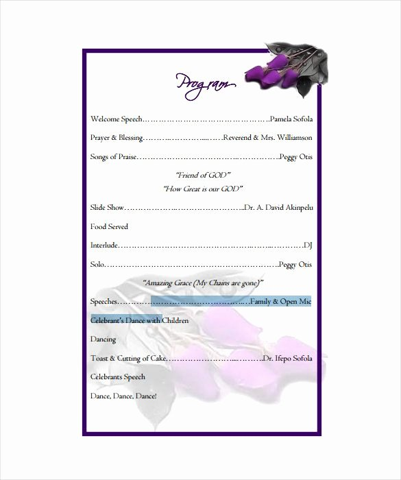 Birthday Party Program Template New Birthday Program Template 11 Free Word Pdf Psd Eps Ai Vector format Download