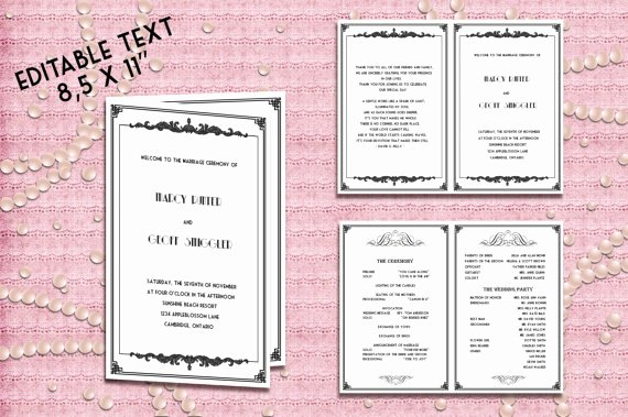 Birthday Party Program Template New Printable Wedding Program Template Great Gatsby Style Art