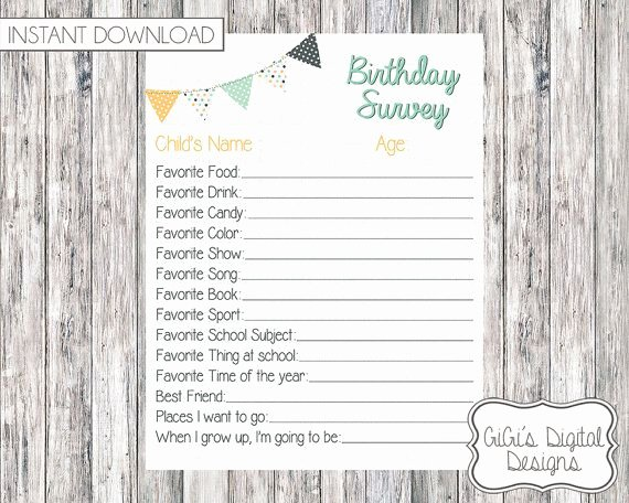 Birthday Wish List Template Fresh Birthday Survey Printable Survey Birthday Questionnaire Birthday Questions My Birthday