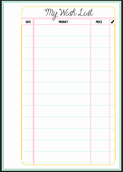 Birthday Wish List Template Inspirational Filofax Wish List Printable