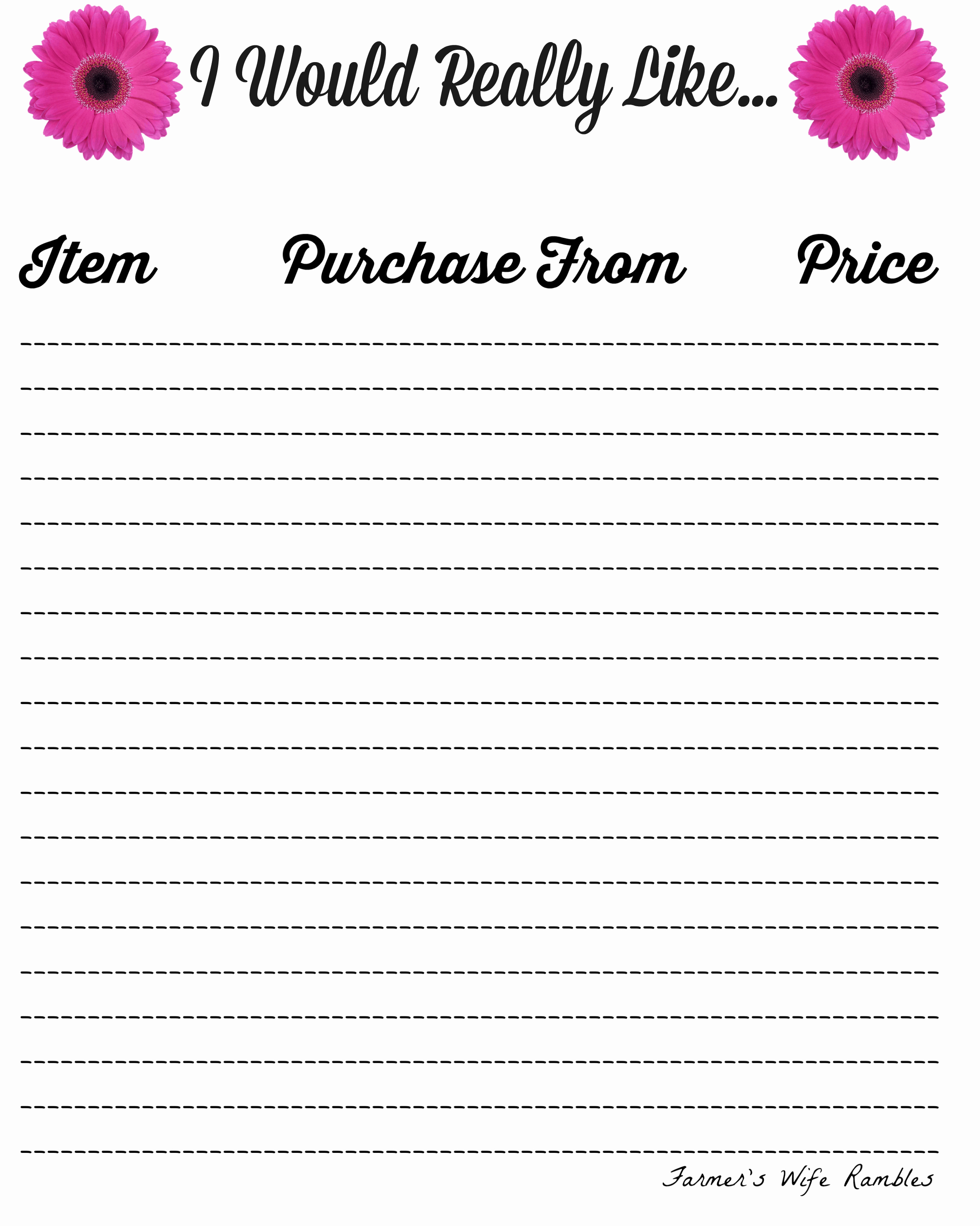 Birthday Wish List Template Inspirational Free Wish List Printables 5 Designs to Pick From Farmer S Wife Rambles