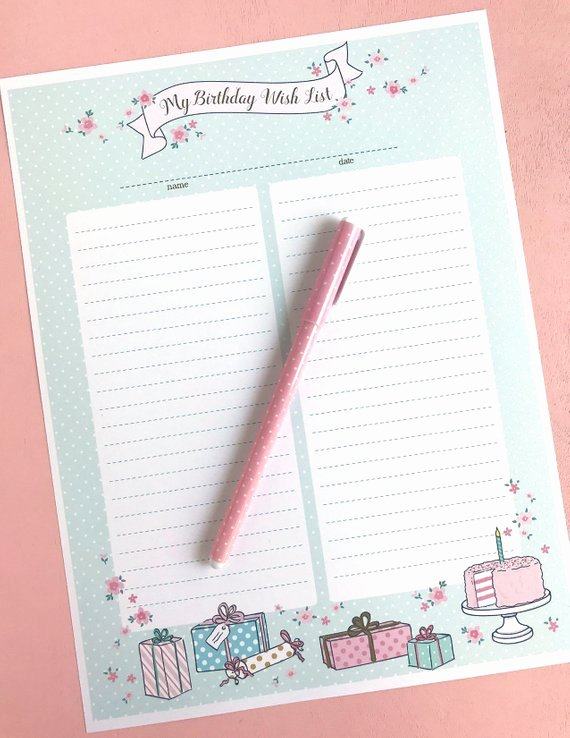 Birthday Wish List Template New Birthday Wish List Printable Instant Pdf Download Little Girl Kids Journal Record Memory
